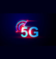 5g network internet logo with speed meter vector image vector image