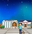 A young boy walking with his dog vector image