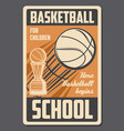 basketball kids school retro poster vector image vector image