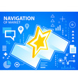 bright navigation map and star on blue backg vector image
