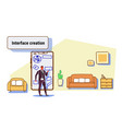 business man developer using mobile application vector image vector image