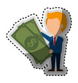 businessman with bills money isolated icon vector image