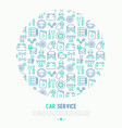 car service concept in circle vector image vector image