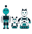 cartoon robots family icon vector image