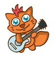 Cat with guitar happy cartoon vector image