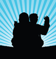 child with dad silhouette vector image vector image