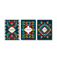colorful cards with geometric ethnic pattern set vector image vector image