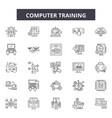 computer training line icons signs set vector image vector image
