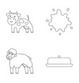 cow sheep a drop of milk butter milk set vector image vector image
