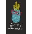 Cute doodle owl with feathers and arrows vector image vector image