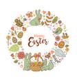 cute easter festive frame vector image vector image