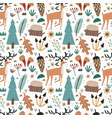 cute scandinavian seamless pattern with woodland vector image vector image