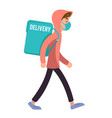 deliveryman young man delivery walking courier vector image