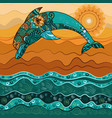 dolphin in the sea in the sun-2 vector image vector image