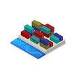 freight containers in port isometric 3d icon vector image vector image