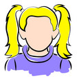 girl with blonde hair on white background vector image vector image