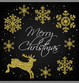 golden snowflakes and deer vector image vector image