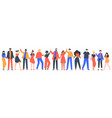 group smiling people team young men and vector image