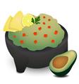 Guacamole in Traditional Mexican Molcajete vector image