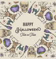 halloween sketch wreath card or banner template vector image