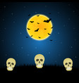 halloween skull graveyard moon bat background vector image vector image