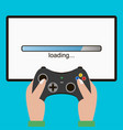 hand hold gamepad screen with loading bar vector image vector image