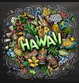 hawaii hand drawn cartoon doodle funny hawaiian vector image