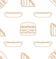 hot dog club sandwich burger outline seamless vector image