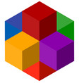 icon of multicolor isometric cubes cube stack logo vector image vector image