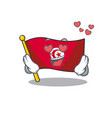 in love flag tunisia cartoon in character shape vector image vector image