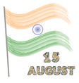 Independence Day of India Concept with watercolor vector image