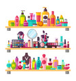 make up things icons on white vector image vector image