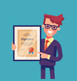 man holding diploma in his hands vector image vector image