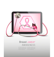 Medical tablet with breast cancer awareness symbol vector image vector image