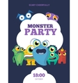 Monster party invitation card poster vector image vector image