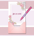 romantic greeting card with realistic pen vector image