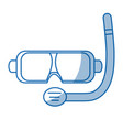 scuba mask and snorkel isolated on white vector image vector image