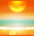Sea sunset with the sun light on lens