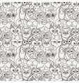 Seamless Pattern with Furry Doodle Owls vector image vector image