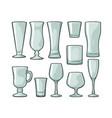 set empty glass beer whiskey wine gin rum vector image vector image