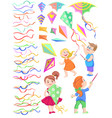 set of cliparts of children with kites vector image