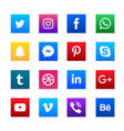social media square icons set vector image vector image