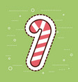 sweet stick candy merry christmas green background vector image vector image