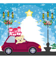 sweet teddy bear in the car with christmas gift vector image