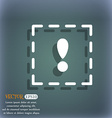 The exclamation point in a square icon On the vector image