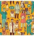 Veterinary people and pets seamless pattern vector image vector image