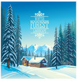 Winter forest landscape and the houses possible vector image