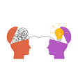 with two human heads mess in one and light vector image vector image