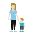 Woman and Little Boy Isolated on White vector image