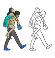 woman riding on the back of her boyfriend vector image vector image